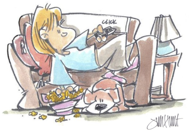 lori-welbourne-watching-tv-jim-hunt-cartoon